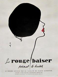 """Rouge Baiser Beret""  Rene Gruau - 1948c"