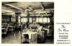 Woodward & Lothrop Tea Room.   The Woodward & Lothrop department store was located between 10th, 11th, F, and G Streets NW in downtown Washington, D.C., from 1887 until the store closed in 1995. A brief history of the store is at:  streetsofwashington.blogspot.com/2010/11/woodward-lothrop...