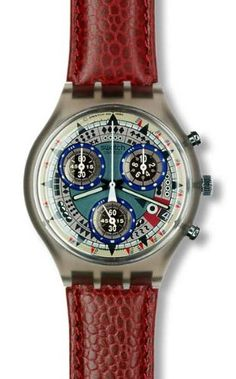 Women's Wrist Watches - 1994 Swatch watch chronograph ATZ ECO Leather band * Click on the image for additional details.