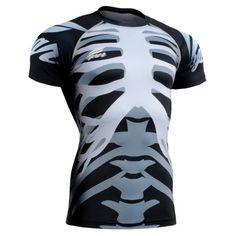 Mens Compression Shirts Bodybuilding Skin Tight Short Sleeve Jerseys Rashguard