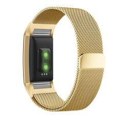 Fitbit Charge 2 Band, UMTELE Milanese Loop Stainless Steel Metal Bracelet Strap with Unique Magnet Lock, No Buckle Needed for HR Fitness Tracker Gold