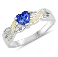 New Product - Personalized Sterling Silver With White Opal and Blue Sapphire Ring - http://www.forevergifts.com/personalized-sterling-silver-with-white-opal-and-blue-sapphire-ring/