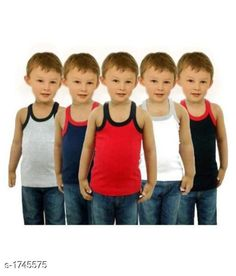 Innerwear Kid's Boy's Cotton Vest(Pack Of 5) Fabric:Cotton Sleeves: Sleeves Are Not Included Size: Age Group (0 Months - 3 Months) - 10 in Age Group (3 Months - 6 Months) - 12 in Age Group (6 Months - 9 Months) - 12 in Age Group (9 Months - 12 Months) - 14 in Age Group (12 Months - 18 Months) - 16 in Age Group (18 Months - 24 Months) - 18 in Age Group (2 - 3 Years) - 20 in Age Group (3 - 4 Years) - 22 in Age Group (4 - 5 Years) - 23 in Age Group (5 - 6 Years) - 24 in Age Group (6 - 7 Years) - 26 in Age Group (7 - 8 Years) - 27 in Age Group (8 - 9 Years) - 27 in Age Group (9 - 10 Years) - 27 in Age Group (10 - 11 Years) - 27 in Age Group (11 - 12 Years) - 28 in Age Group (12 - 13 Years) - 29 in Age Group (13- 14 Years) - 29 in Age Group (14 - 15 Years) - 29 in Type: Stitched Description: It Has 5 Pieces Of Kid's Boy's Vests Work :Printed Country of Origin: India Sizes Available: 0-3 Months, 0-6 Months, 3-6 Months, 6-9 Months, 6-12 Months, 9-12 Months, 12-18 Months, 18-24 Months, 0-1 Years, 1-2 Years, 2-3 Years, 3-4 Years, 4-5 Years, 5-6 Years, 6-7 Years, 7-8 Years, 8-9 Years, 9-10 Years, 10-11 Years, 11-12 Years, 12-13 Years, 13-14 Years, 14-15 Years   Catalog Rating: ★4.1 (8870)  Catalog Name: Elegant Kid's Boy's Cotton Vests Vol 9 CatalogID_228732 C59-SC1187 Code: 592-1745575-786