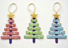 Christmas Gift Decorations, Easy Christmas Crafts, Diy Christmas Ornaments, Kids Christmas, Homemade Christmas, Navidad Simple, Navidad Ideas, Baby Dekor, Stick Christmas Tree