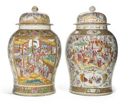 A large pair of Canton famille-rose baluster jars and covers Qing Dynasty, Century
