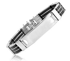 $9.99 - Stainless Steel Triple Rubber Lined Men's Bracelet With Flat Plate Center