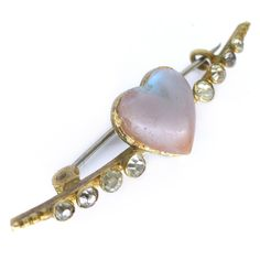 Vintage Art Deco Saphiret Heart Glass Moon Cresent Pin Brooch | Clarice Jewellery