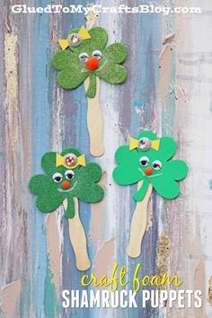 Simple Craft Foam Shamrock Puppets Simple Craft Foam Shamrock Puppets,You can find Puppets and more on our website.Simple Craft Foam S. St Patricks Day Crafts For Kids, Spring Crafts For Kids, St Patrick's Day Crafts, Holiday Crafts, Art For Kids, Kid Crafts, Glue Crafts, Craft Stick Crafts, Craft Foam