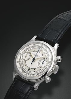 Patek Philippe A FINE AND RARE STAINLESS STEEL CHRONOGRAPH WRISTWATCH WITH REGISTER TACHOMETER AND SECTOR DIAL REF 1463 MVT 867300 CASE 653499 MADE IN 1947