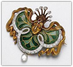 Gold, plique-à-jour enamel and diamond brooch, circa 1900.