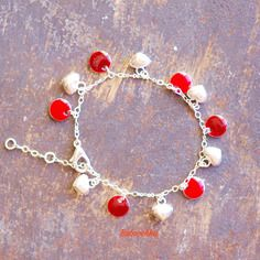 Bracelet plaqué argent duo de rouges et coeurs en argent 925