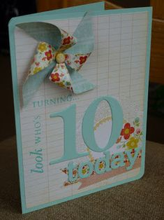 This pinwheel card by Victoria is very age appropriate. Sweet, breezy, but just a touch grown up for a 10 year old.