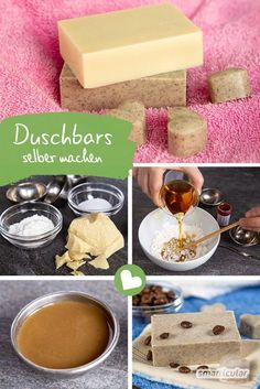 Festes Duschgel: Natürliche Dusch-Bars selber machen aus 3 Zutaten Shower bars are a particularly mild alternative to liquid shower gels or body soaps. With this recipe of three ingredients, you can c Diy Beauty, Beauty Hacks, Beauty Tips, Beauty Care, Beauty Skin, Face Beauty, Beauty Products, Homemade Beauty, Beauty Secrets