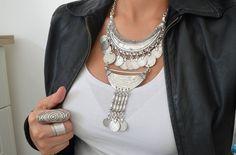 Turkish Oriental Statement Coin Necklace, Ultimate Bohemian Summer Necklace Jewelry, Valentines day, Valentines gift, valentine's