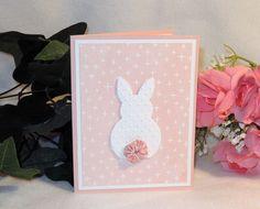Happy Eastercard  bunny embossed  yo-yo tail by karenirene on Etsy