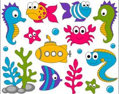 Under The Sea Clip Art, Ocean Digital ClipArt, Bright Cute Fishes, Sea Plants… Art Clipart, Fish Clipart, Sea Plants, Cute Fish, Clip Art, Elements Of Art, Felt Crafts, Under The Sea, Explosion Box
