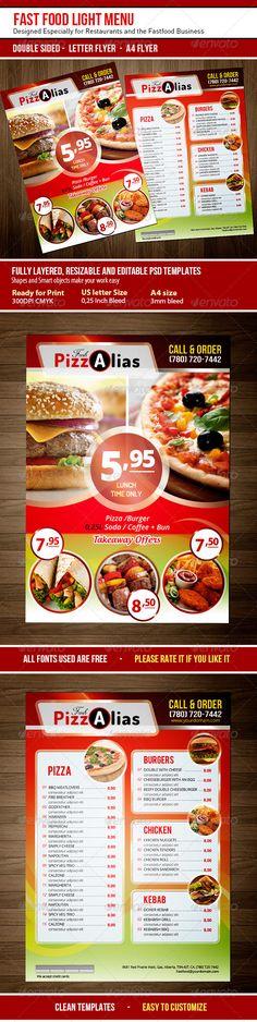 Fast Food Menu Flyer Food menu, Menu and Flyer printing - menu flyer template