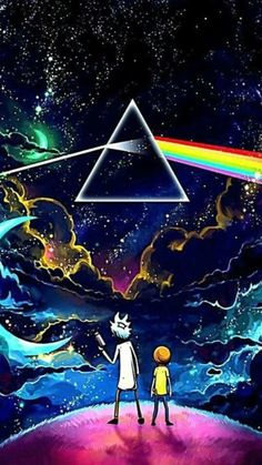 Rick and Morty finds The Dark Side of the Moon from Pink Floyd Trippy Wallpaper, Galaxy Wallpaper, Cartoon Wallpaper, Wallpaper Backgrounds, Wallpaper Art, Iphone Backgrounds, Cellphone Wallpaper, Screen Wallpaper, Pink Floyd Dark Side