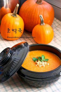Korean pumpkin porridge. Ingredients: pumpkin, rice, water, sugar, salt. Recipe on Beyond Kimchee.