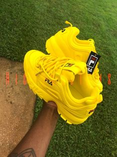 sneakers and stuff discount code Cute Sneakers, Shoes Sneakers, Fila Disruptors, Yellow Shoes, Yellow Sneakers, Nike Air Shoes, Aesthetic Shoes, Fresh Shoes, Hype Shoes