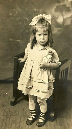 """""""Cute Pouty Girl, c 1920 by fluffy chetworth"""" - sweet little girl obviously doesn't want to pose for picture. I hope she grew up and had a happy life which brought her many smiles. Vintage Children Photos, Images Vintage, Vintage Girls, Vintage Pictures, Old Pictures, Vintage Postcards, Old Photos, Antique Photos, Vintage Photographs"""