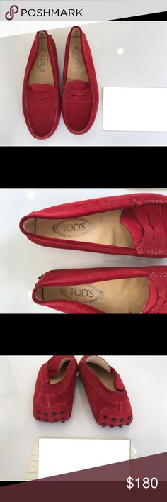 Tod's Gommino Red Suede Loafers TOD'S Gommino Red Suede Loafers Colour: Red Made in Italy Lining Composition: leather 100% Sole Composition: leather 100% Sole Composition: rubber 100% Outer Composition: calf suede 100% Guaranteed authentic or your money back  Condition: Preowned Tod's Shoes Flats & Loafers