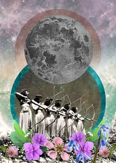 Collage by Lori Menna. Today at PM EST, the moon will turn full in the fiery sign of Aries at This moon's chart is packed with interesting. Surreal Collage, Surreal Art, Collage Art, Collages, Arte Latina, Cosmic Art, Whatsapp Wallpaper, Psy Art, Goddess Art