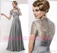 Wholesale 2014 - Buy Vintage Plus Size Chiffon Mother Of The Bride Dresses Sexy V Neck Cap Sleeve Lace Button Covered Back A Line Formal Evening Gowns MG2505, $116.1 | DHgate
