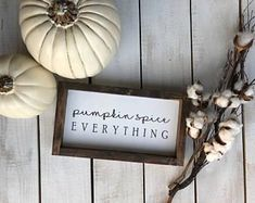 Pumpkin Spice Everything Sign / Pumpkin Sign / Fall Wood Sign / Pumpkin Everything / Fall / Fall Decor, farmhouse, white pumpkin, fall decor, home decor, signs, rustic, diy decor, living room, dining room, kitchen, family room, hallway #afflink