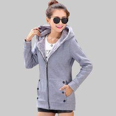 2017 Wiosna Jesień Kobiety Bluzy bawełniane mieszane Zip-up zipper Solidna Pełna Rękaw bluzy bluzy z kapturem Bluzy Z Kapturem Dorywczo Plus rozmiar M-3XL