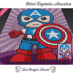Mini Captain America inspired crochet blanket pattern; knitting, cross stitch…