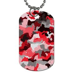 Camouflage Red,black Dog Tag (One Side)