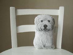 west highland terrier dog portrait white dog cuddly toy by MosMea