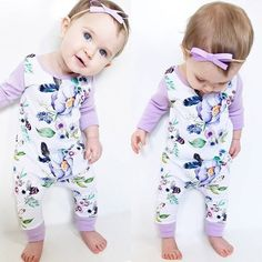 Main Color: As the PictureMaterial: Cotton Blend Package included: 1 x Baby Girl jumpsuit Size Chart:Size-----Length-----Bust*2-----Age Advice70-------50 CM-------24 CM-----0-3 Months80-------52 CM-------25.5 CM---3-6 Months90-------54 CM-------27 CM------6-12 Months100-----56 CM-------28.5 CM---12-24 Months There is 2
