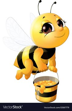 Vector Illustration Of Cartoon Bee Waving Hand Isolated On White. Royalty Free Cliparts, Vectors, And Stock Illustration. Cartoon Bee, Cute Cartoon, Animal Drawings, Cute Drawings, Bee Pictures, Bee Drawing, Cute Bee, Bee Art, Bee Happy