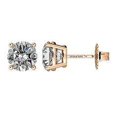 c59fee183 NANA 14k Gold Post Sterling Silver 4 Prong CZ Stud Earrings Rose Gold  Plated525mm100cttw --