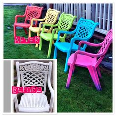 DIY spray paint update of ugly patio chairs. I sanded all of chairs lightly, and used primer/paint mix on each chair.