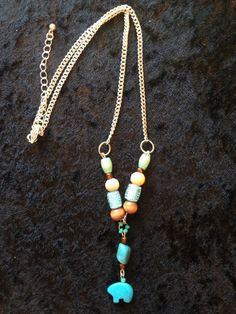 Boho Chevron Turquoise Bear Necklace by CraftyOlBats on Etsy