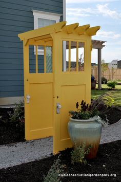 Top 10 Amazing DIY Projects made from Old Doors: Paint it blue and you almost have a Tardis pergola!