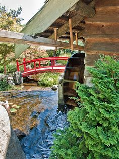 Water wheel in the Japanese garden at the Hobart botanical garden