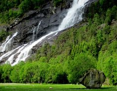 Waterfall, between Skare and Odda, Hordaland, Norway. TONE LEPSOES PICTURES.