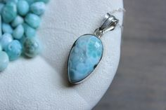 Tear Drop Larimar Pendant Necklace by Amorco on Etsy, $45.00