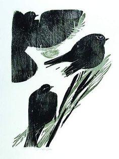 Wintervögel (Drei Amseln) 1985 Farbholzschnitt 49 x 35,5 cm Auflage 100 Exemplare numeriert und signiert WV 400