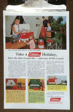 Vintage ad Coleman camping equipment 1960s by SkippiDiddlePaper, $4.00