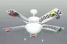 "Amazon.com: 42"" Race Car Ceiling Fan 5-Blade 2-Light 3-Speed NEW!: Home & Kitchen"
