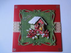 kerst vogelhuisje groen/rood