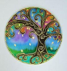 Tree of Light Mandala art spirtual art silk by HeavenOnEarthSilks