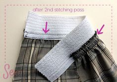Sewing Techniques: Applied Elastic Waistband Tutorial: Sewing an applied elastic waistband. Sewing Basics, Sewing Hacks, Sewing Tutorials, Sewing Crafts, Tutorial Sewing, Sewing Tips, Serger Sewing, Sewing Elastic, Diy Tulle Skirt