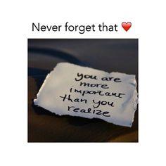 U are important ☺️