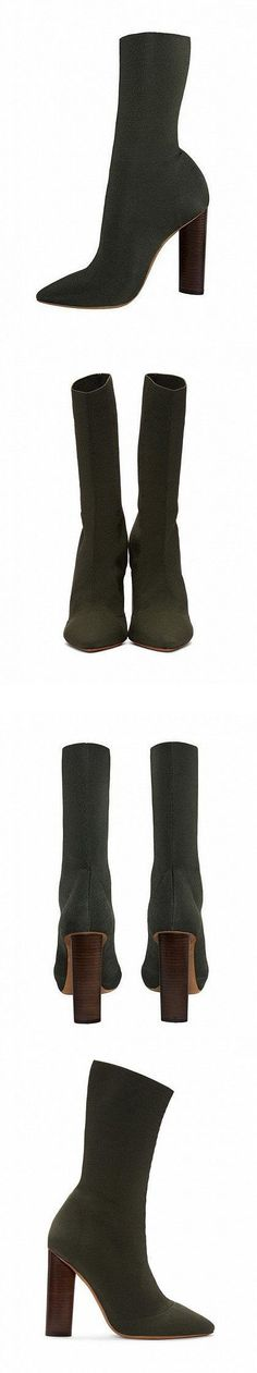 d7ac1f7cc9f4 Dark Green Pinted Toe Stretch Heeled Knee High Boots. Suitable for this  season and lock